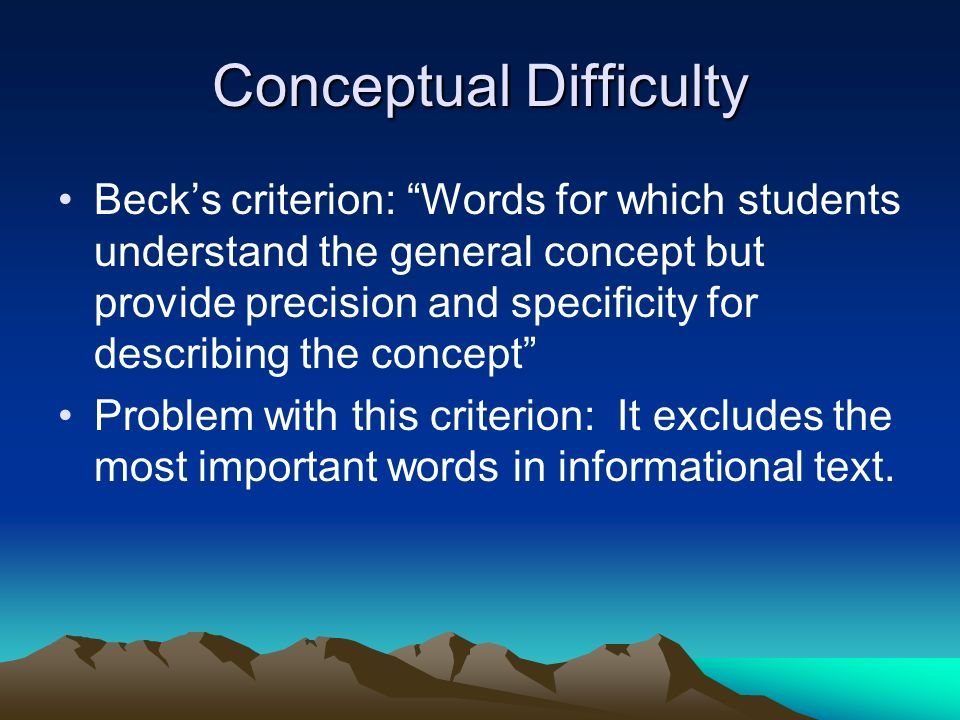 Conceptual Difficulty