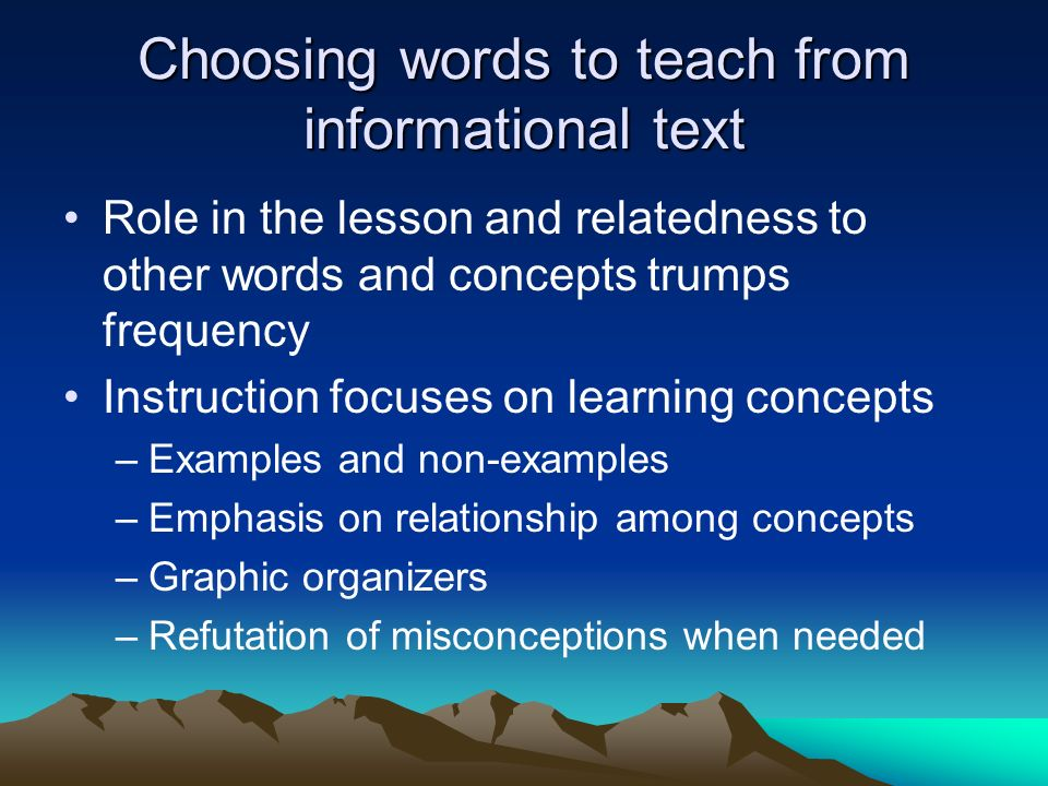 Choosing words to teach from informational text