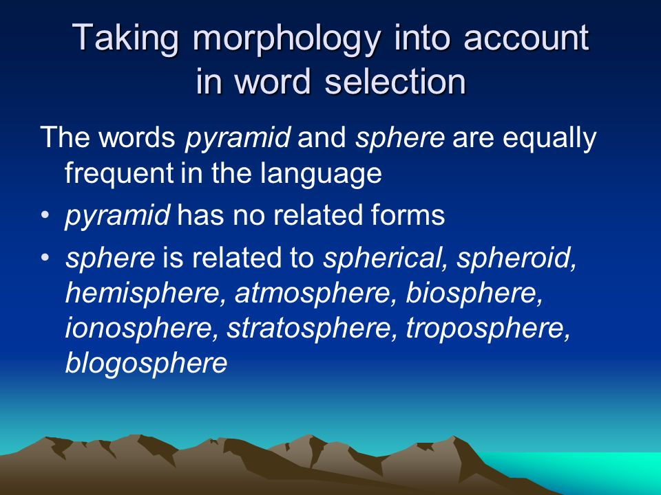 Taking morphology into account in word selection
