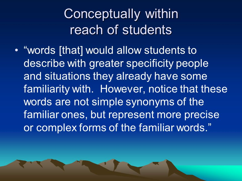 Conceptually within reach of students