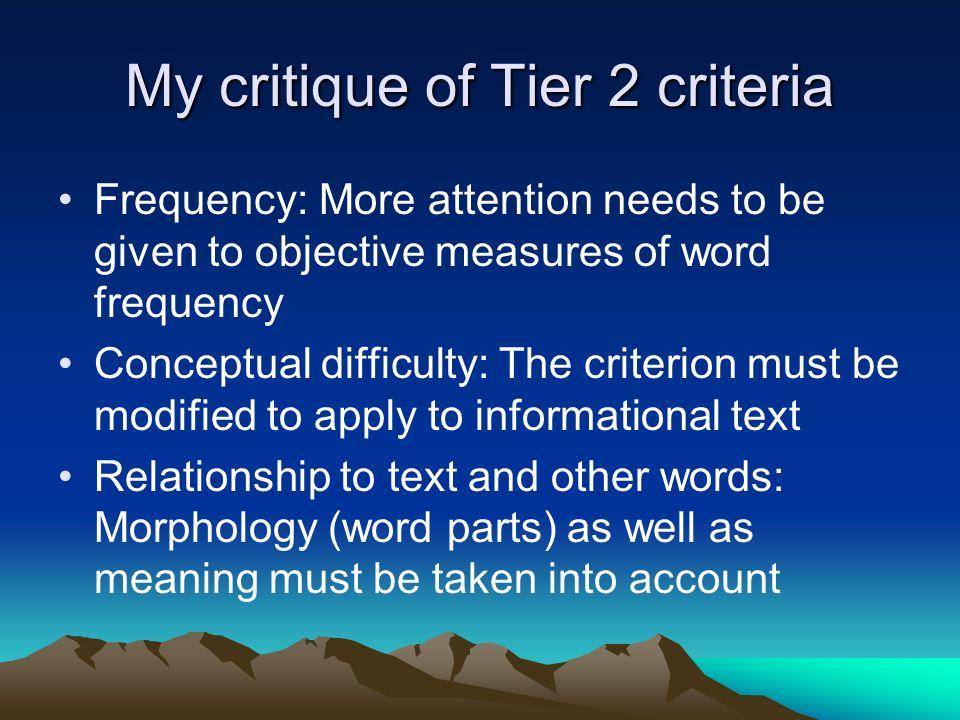 My critique of Tier 2 criteria