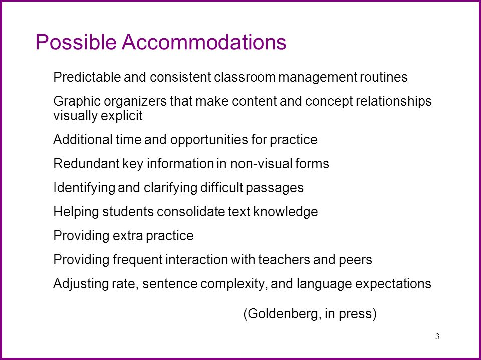 Possible Accommodations