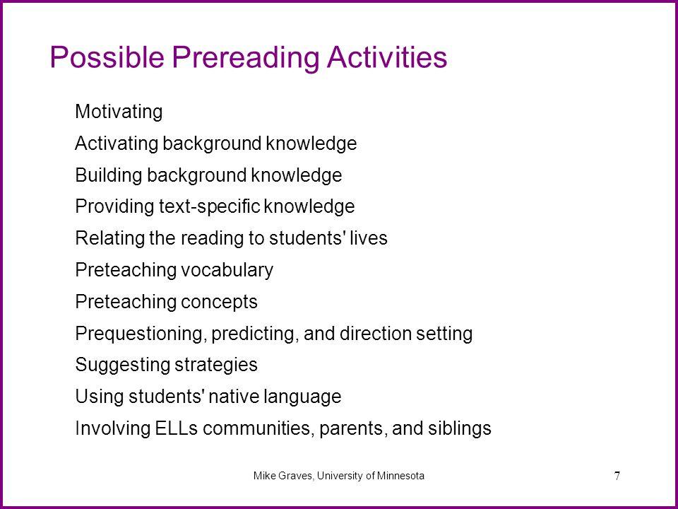 Possible Prereading Activities
