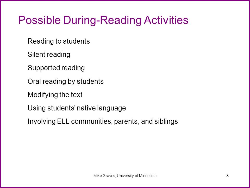 Possible During-Reading Activities