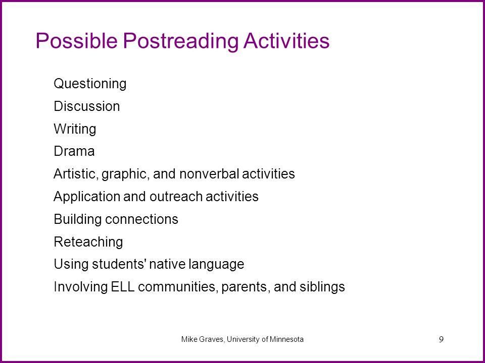 Possible Postreading Activities