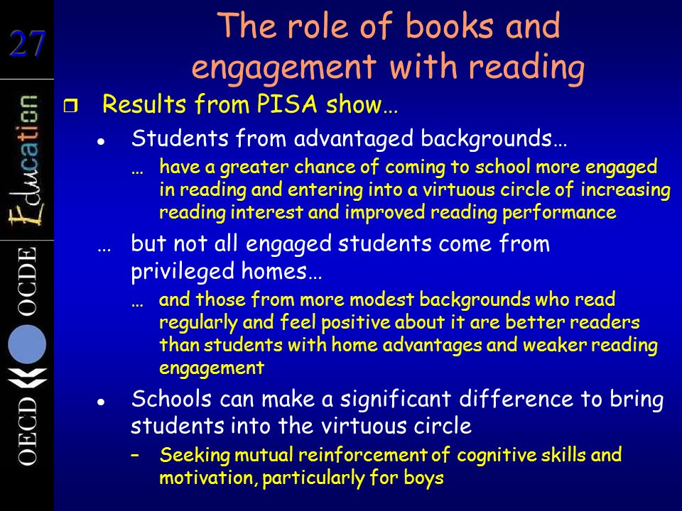 The role of books and engagement with reading