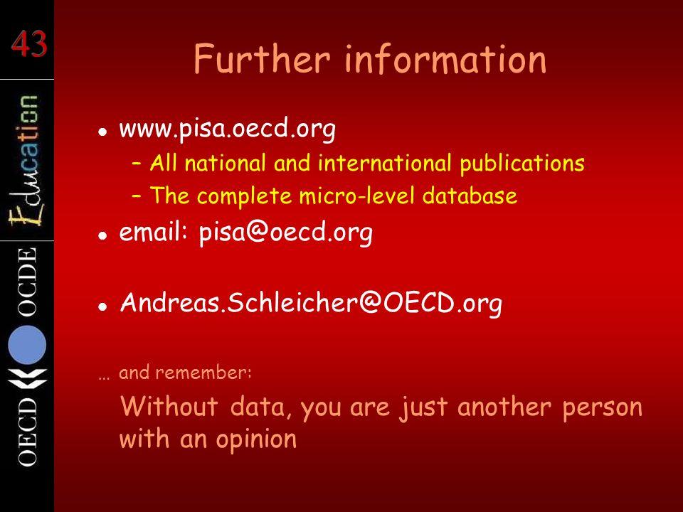 Further information www.pisa.oecd.org