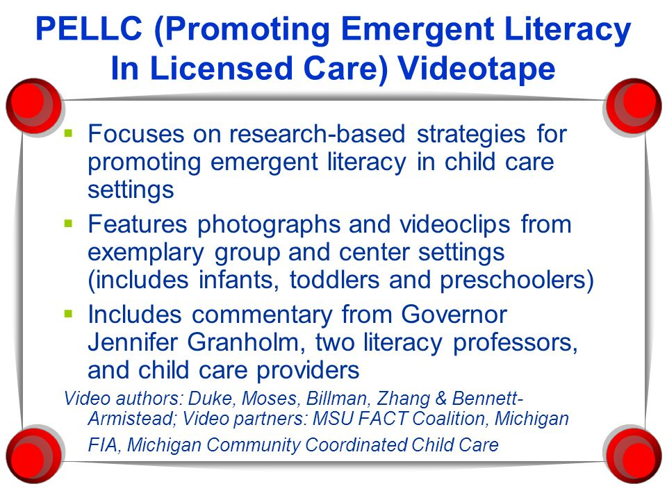 PELLC (Promoting Emergent Literacy In Licensed Care) Videotape