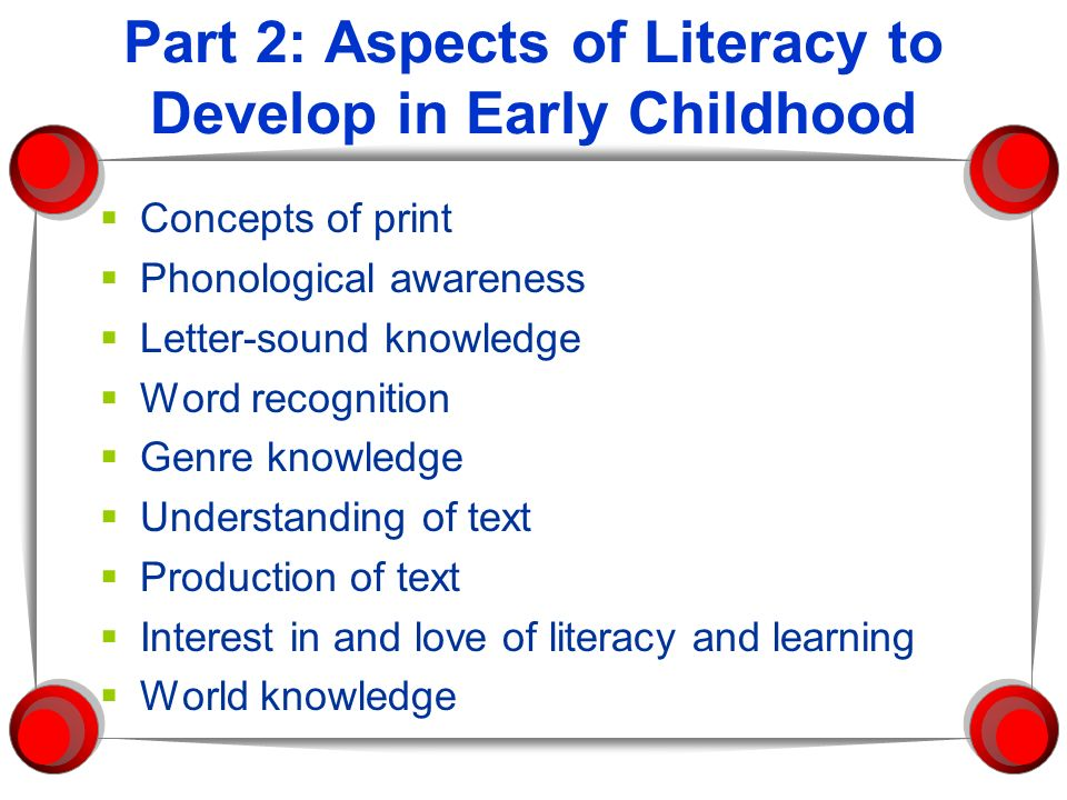 Part 2: Aspects of Literacy to Develop in Early Childhood