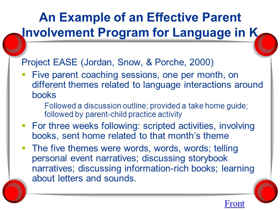 An Example of an Effective Parent Involvement Program for Language in K