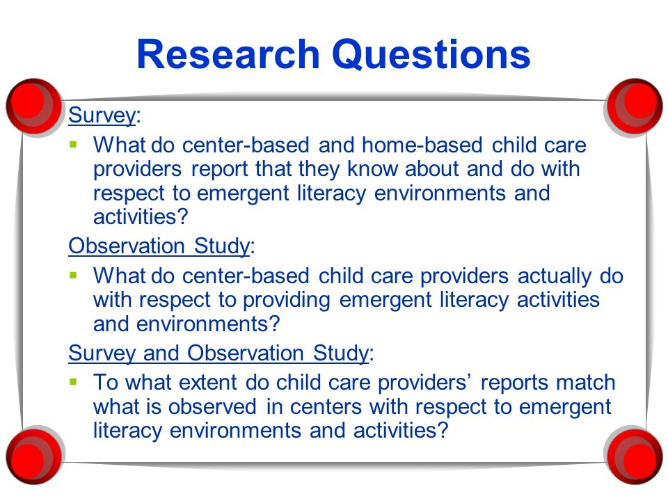 Research Questions Survey: