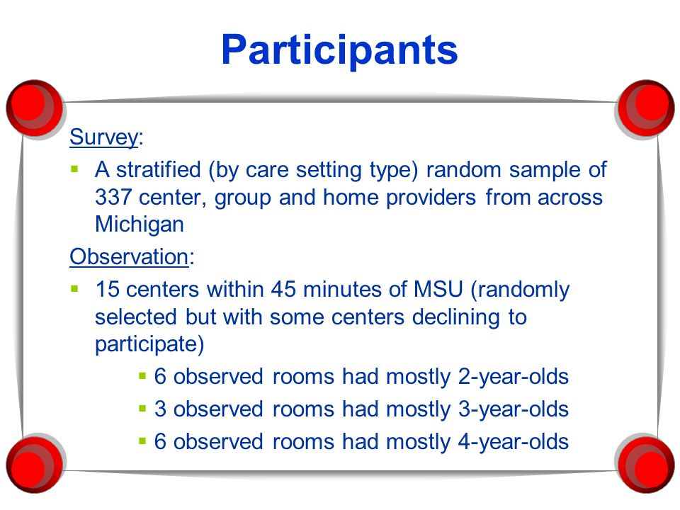 Participants Survey: A stratified (by care setting type) random sample of 337 center, group and home providers from across Michigan.