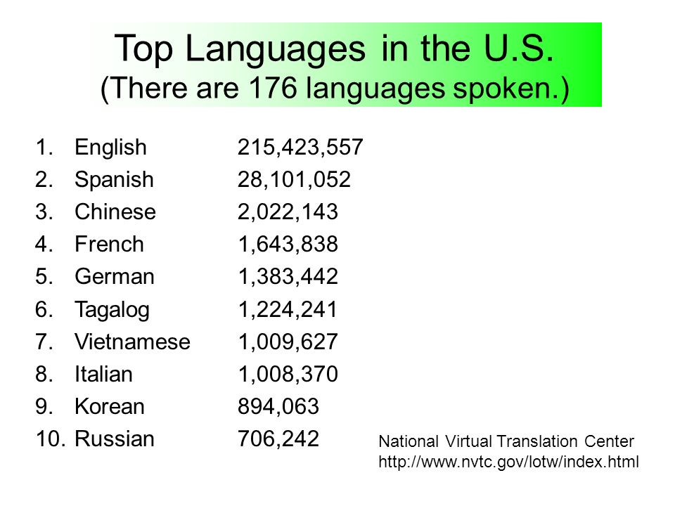 Top Languages in the U.S. (There are 176 languages spoken.)