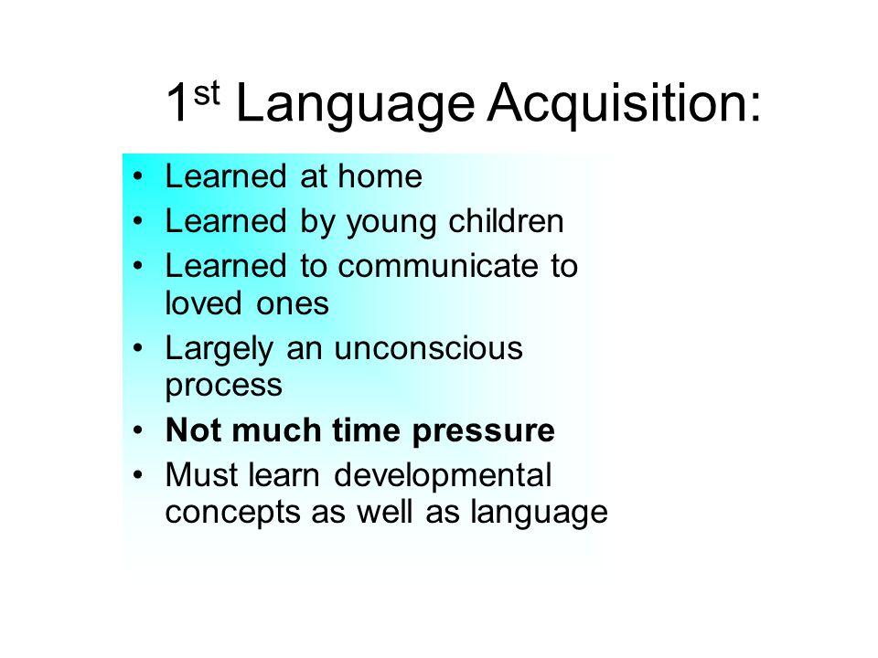 1st Language Acquisition: