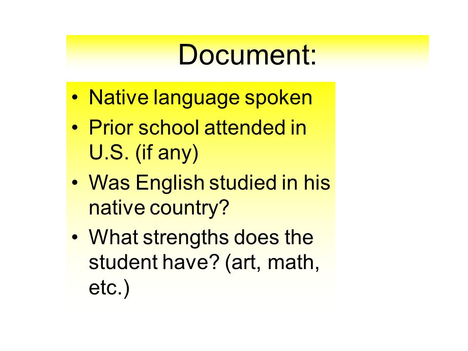 Document: Native language spoken