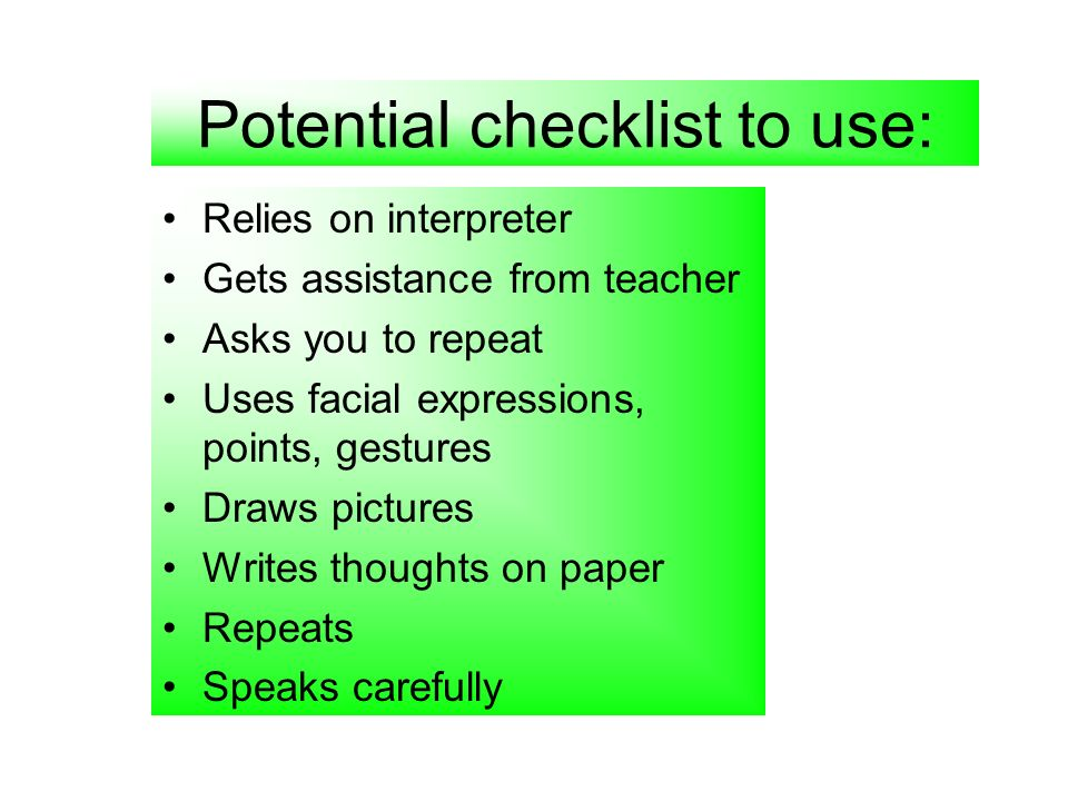Potential checklist to use: