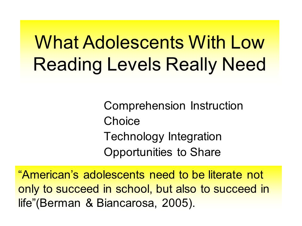 What Adolescents With Low Reading Levels Really Need