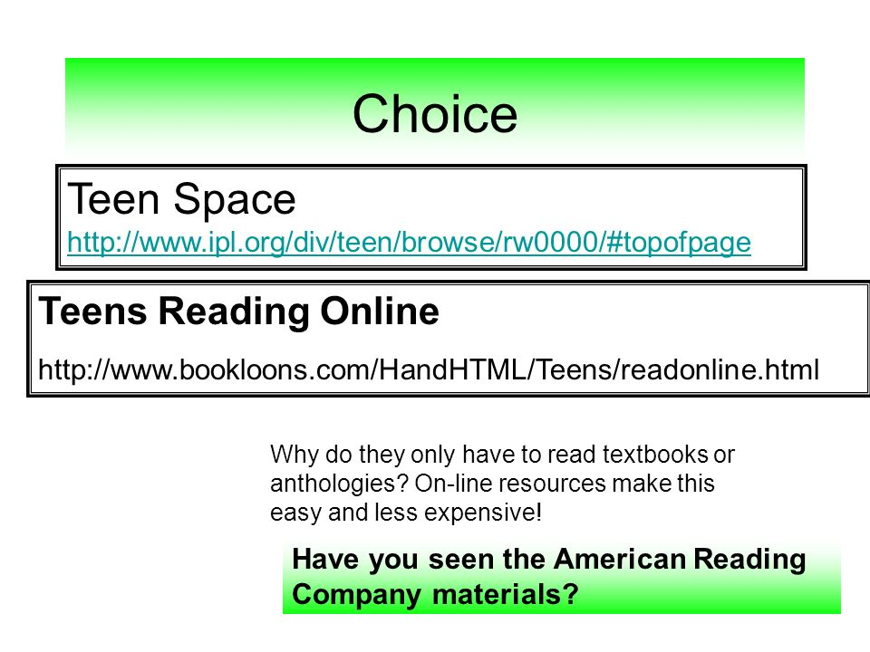 Choice Teen Space http://www.ipl.org/div/teen/browse/rw0000/#topofpage
