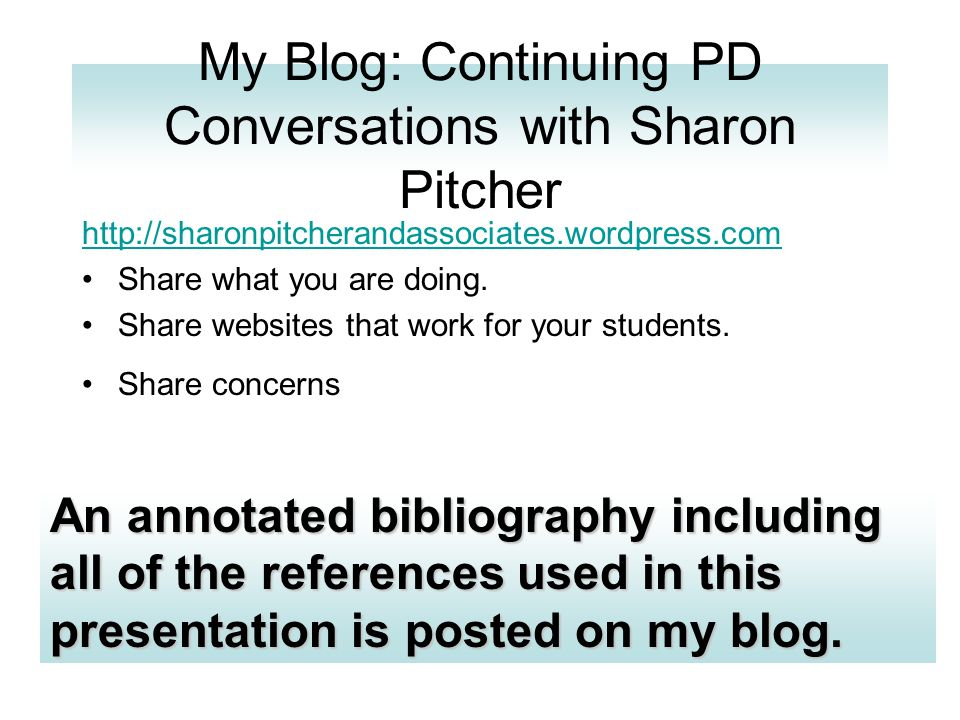 My Blog: Continuing PD Conversations with Sharon Pitcher