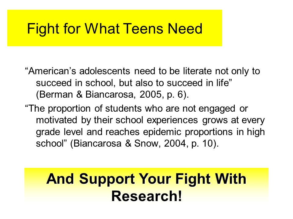 Fight for What Teens Need