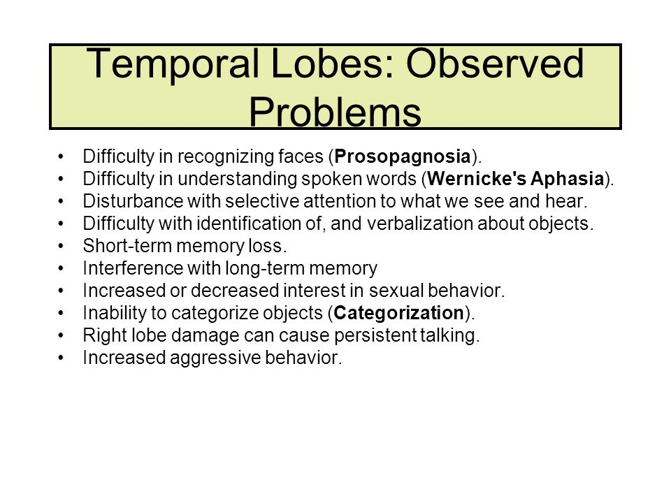 Temporal Lobes: Observed Problems