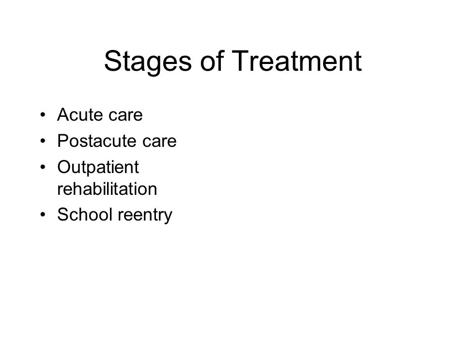 Stages of Treatment Acute care Postacute care