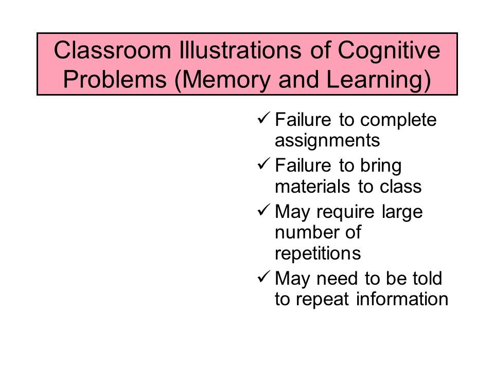 Classroom Illustrations of Cognitive Problems (Memory and Learning)