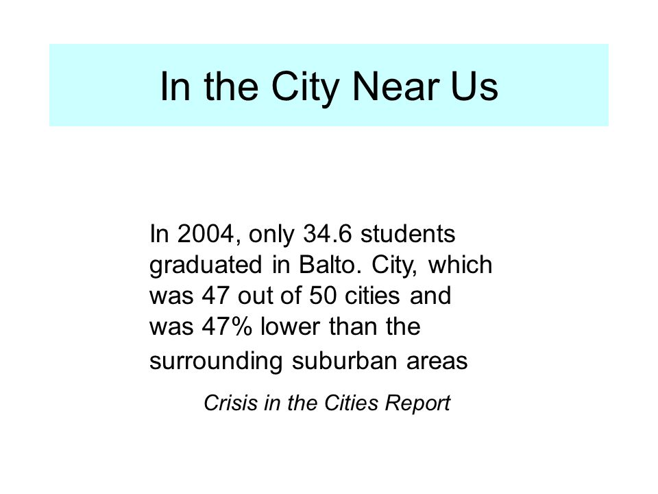 Crisis in the Cities Report