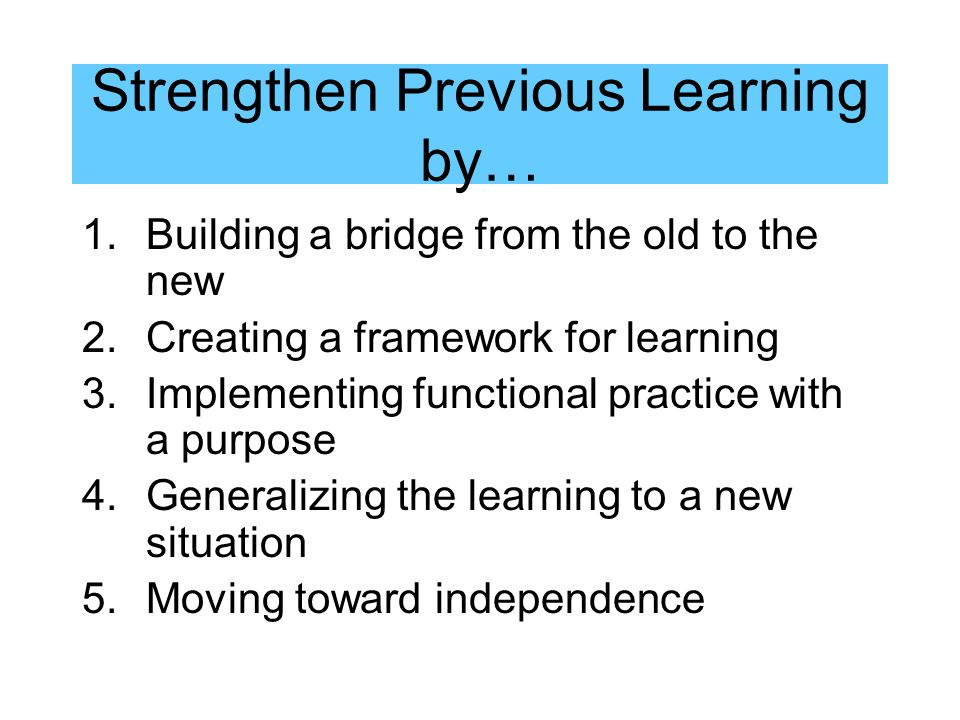 Strengthen Previous Learning by…