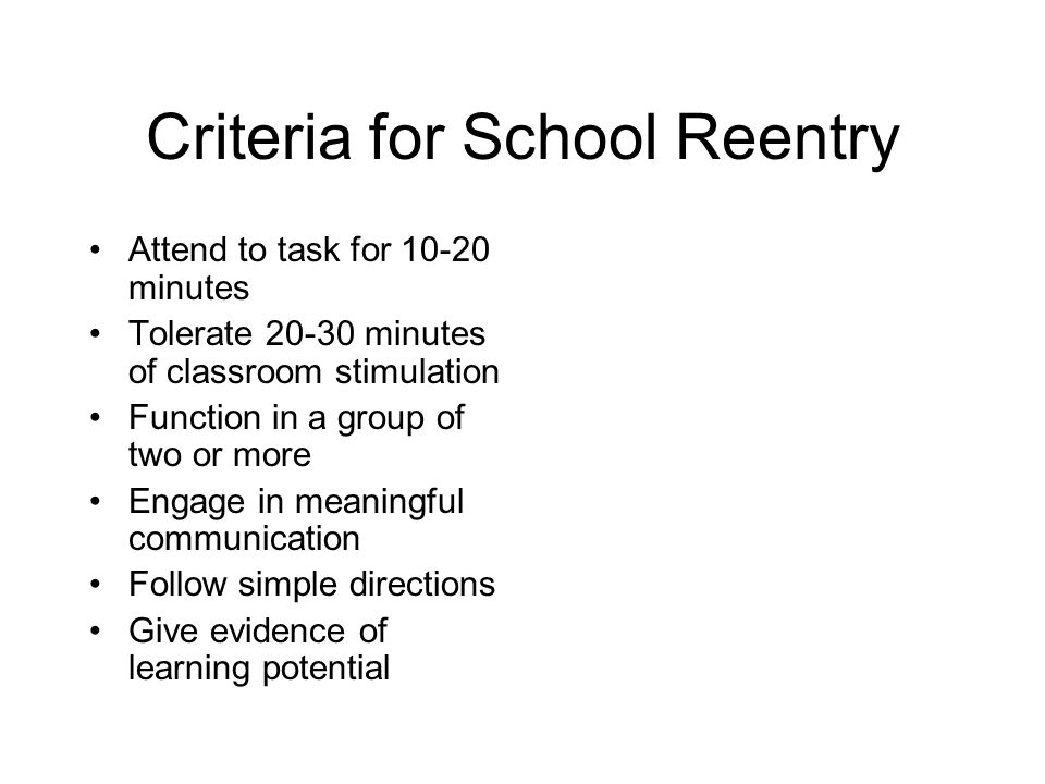 Criteria for School Reentry