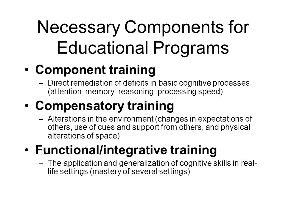 Necessary Components for Educational Programs