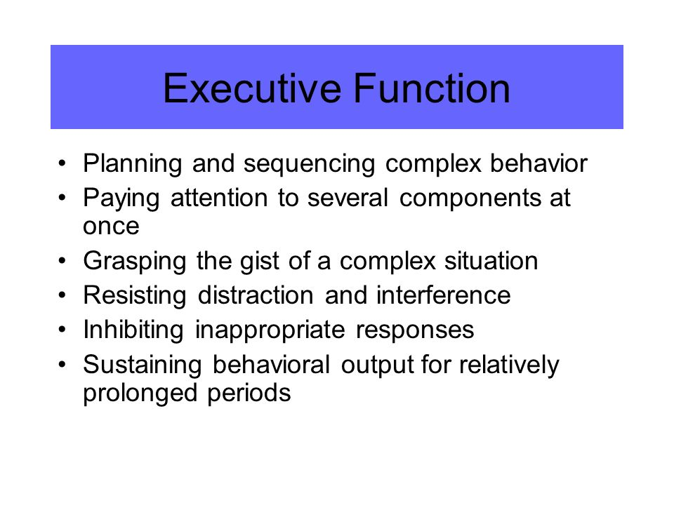 Executive Function Planning and sequencing complex behavior