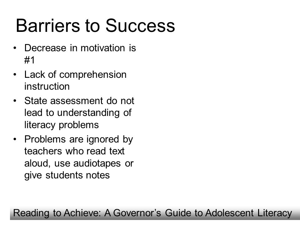 Barriers to Success Decrease in motivation is #1