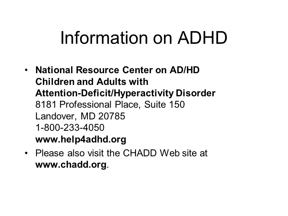 Information on ADHD