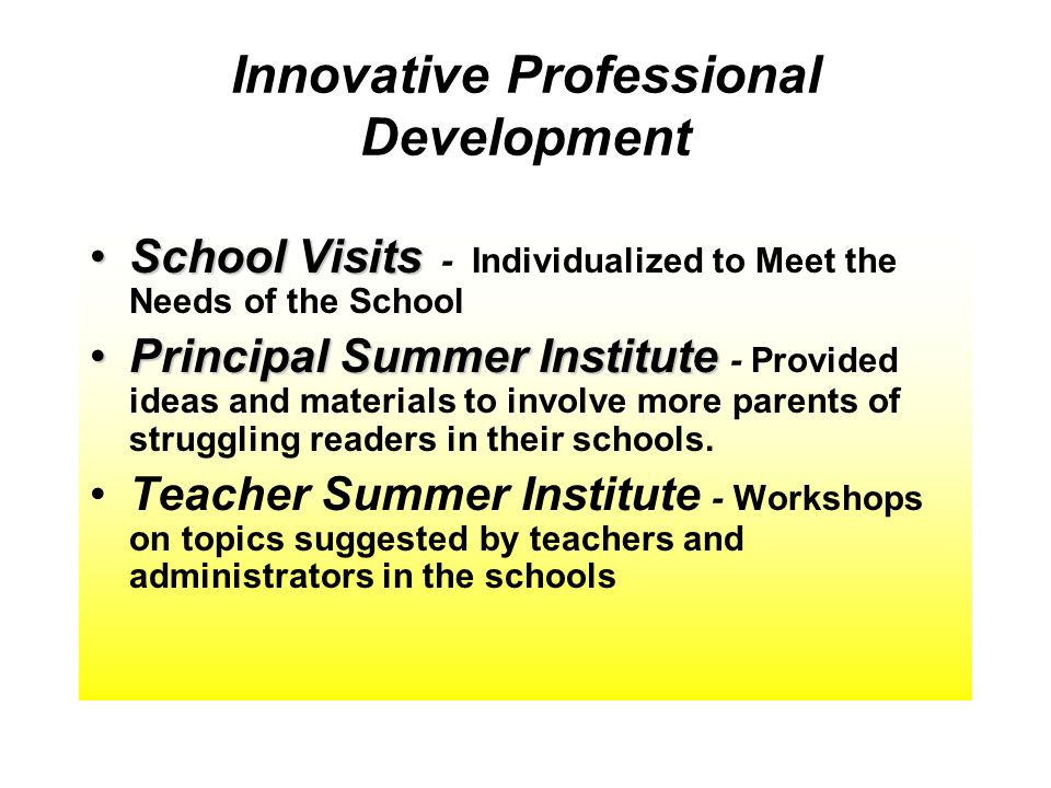 Innovative Professional Development