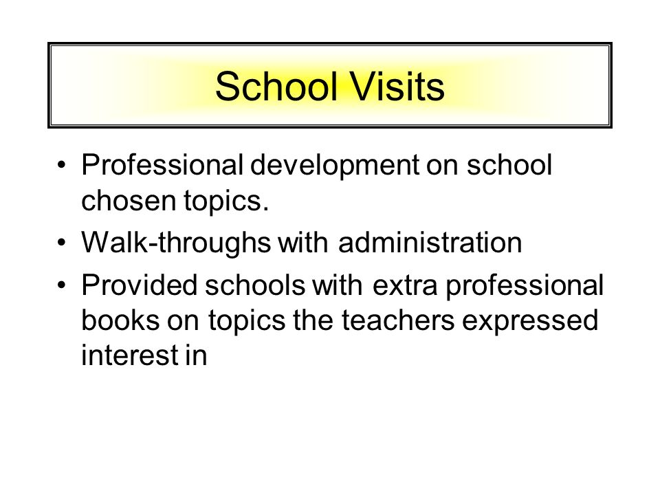 School Visits Professional development on school chosen topics.
