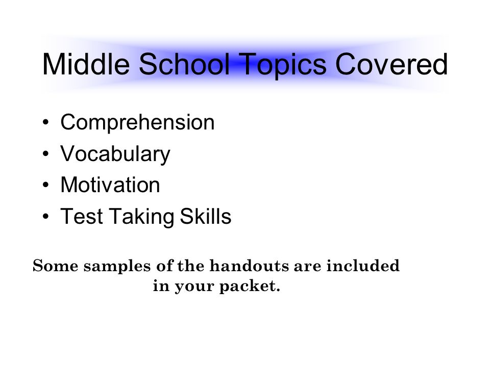 Middle School Topics Covered