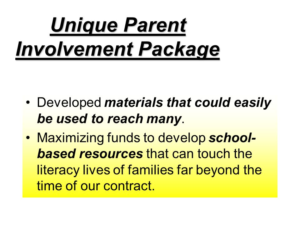 Unique Parent Involvement Package