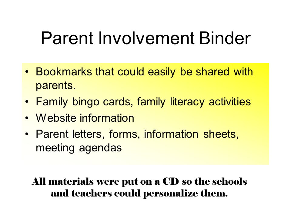 Parent Involvement Binder
