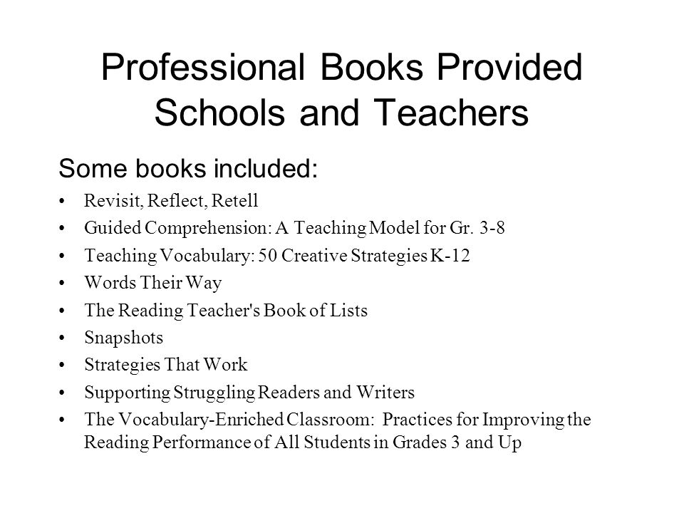 Professional Books Provided Schools and Teachers