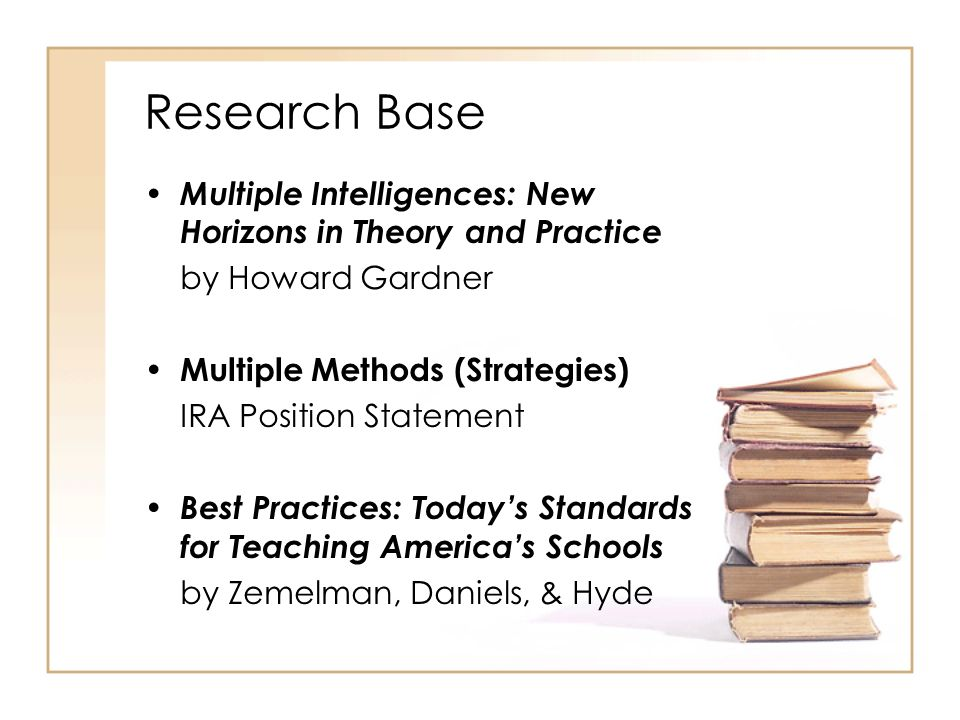 Research Base Multiple Intelligences: New Horizons in Theory and Practice. by Howard Gardner. Multiple Methods (Strategies)