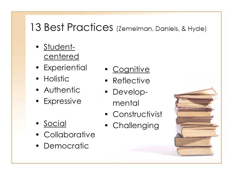 13 Best Practices (Zemelman, Daniels, & Hyde)