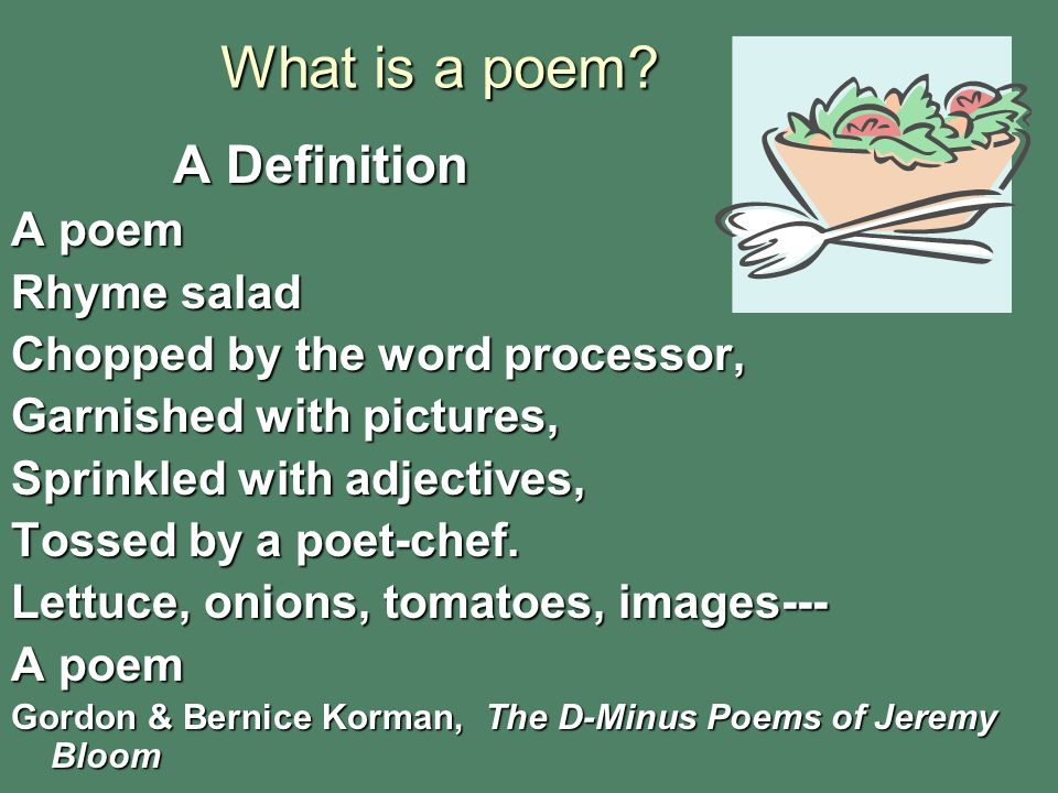What is a poem A Definition A poem Rhyme salad