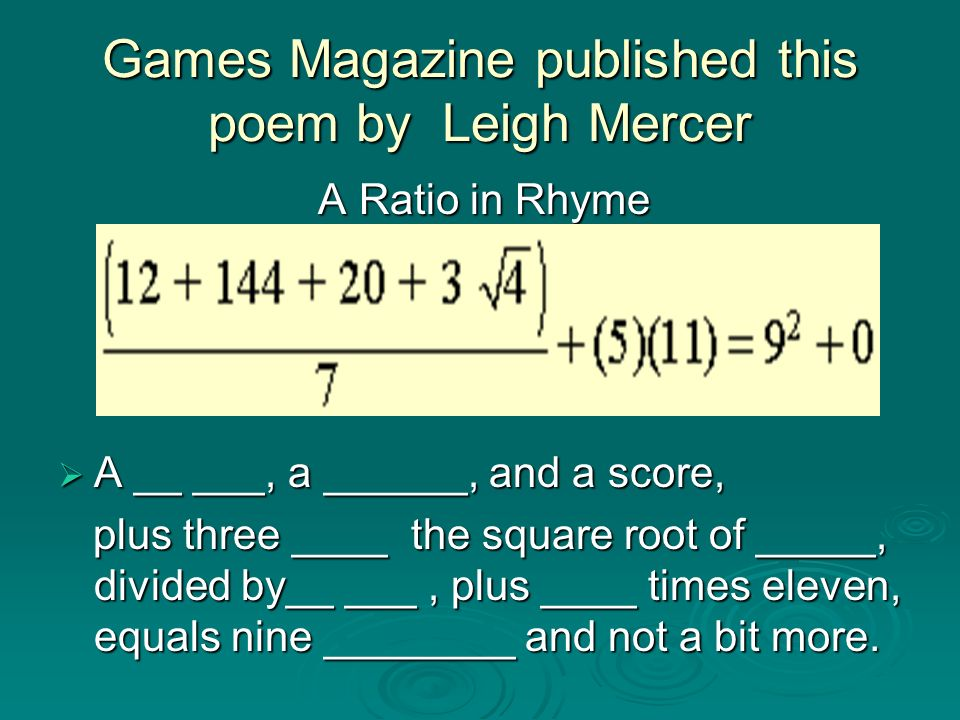 Games Magazine published this poem by Leigh Mercer
