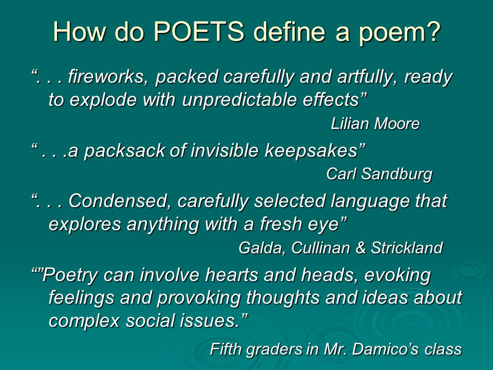How do POETS define a poem