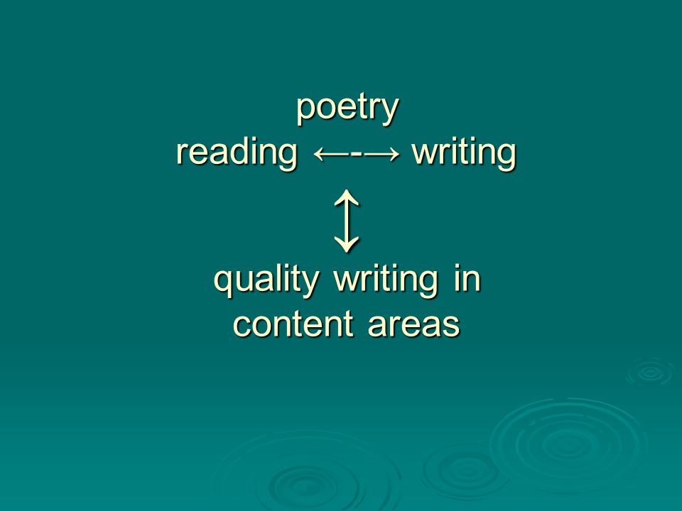 poetry reading ←-→ writing ↕ quality writing in content areas