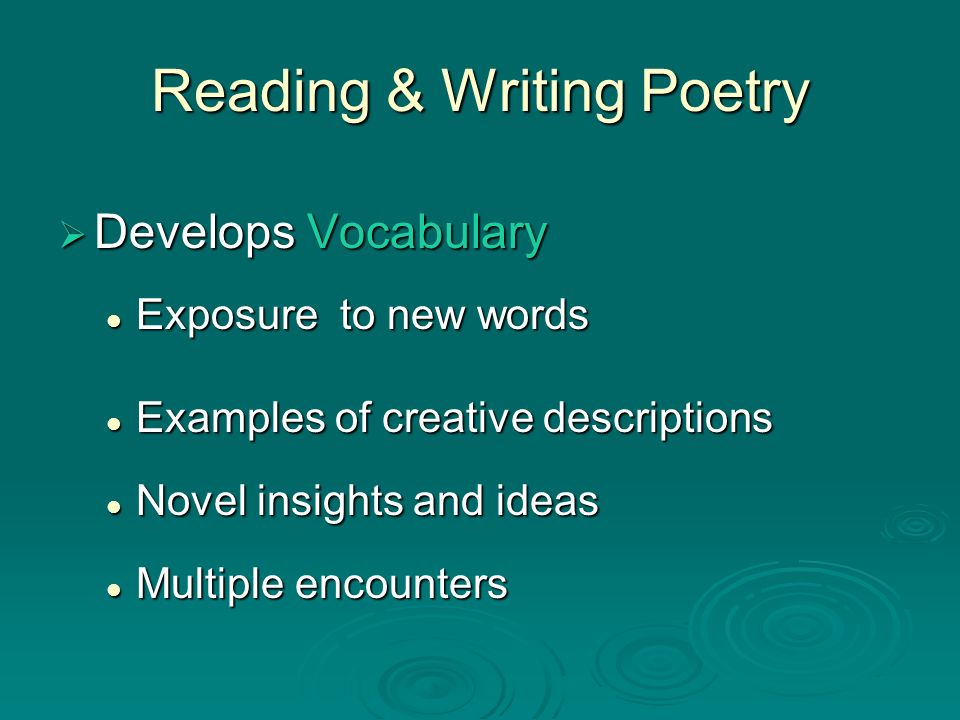 Reading & Writing Poetry