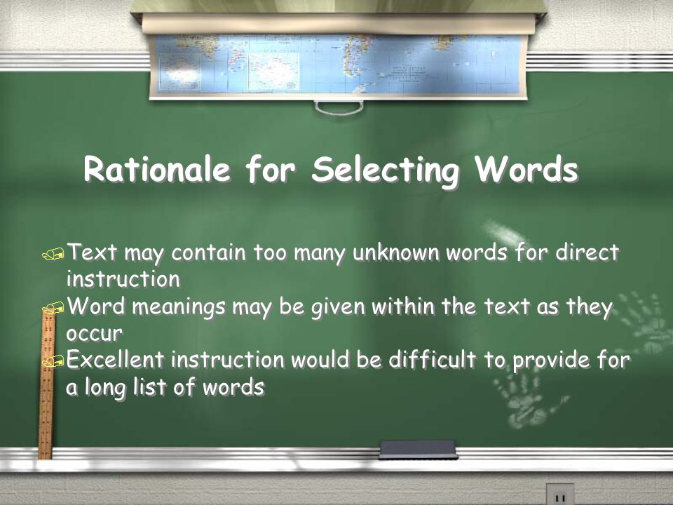 Rationale for Selecting Words