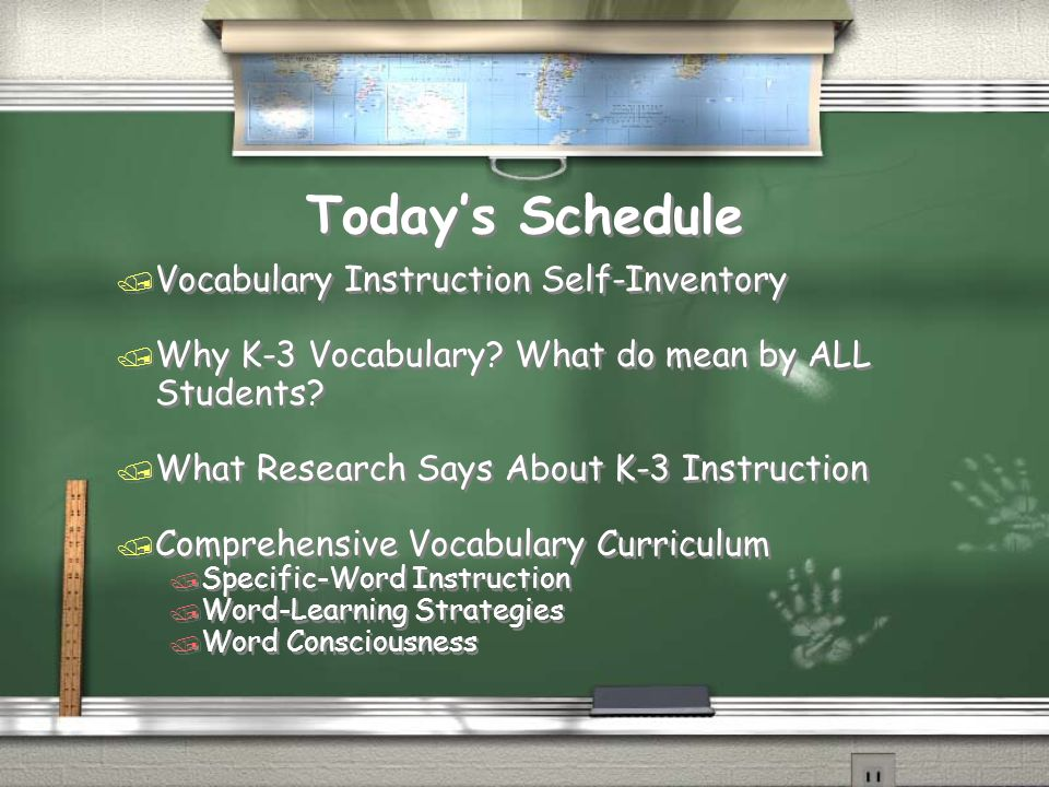 Today's Schedule Vocabulary Instruction Self-Inventory