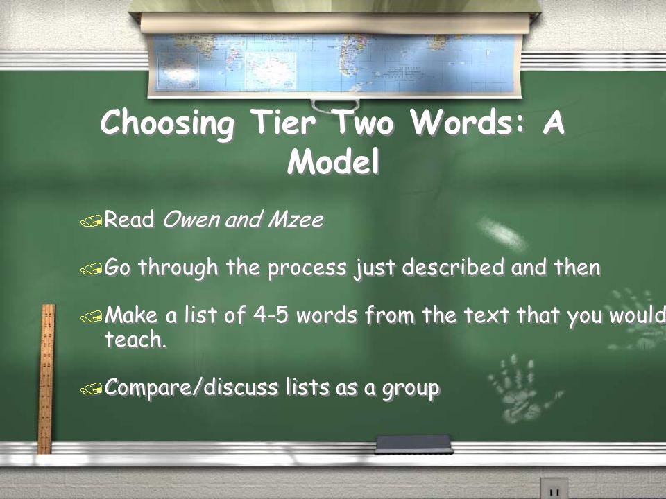 Choosing Tier Two Words: A Model